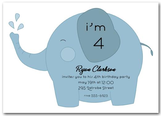 Blue Baby Elephant Birthday Party Invitation