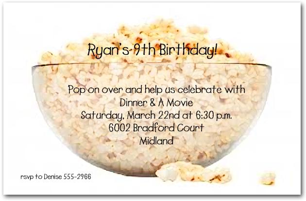 Bowl of popcorn party invitations bowl of popcorn filmwisefo