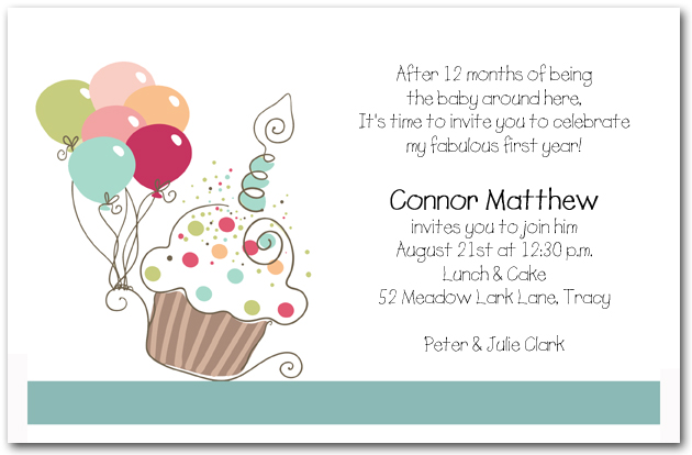 Boys Cupcake Balloons Birthday Invitation Cupcake Invitations