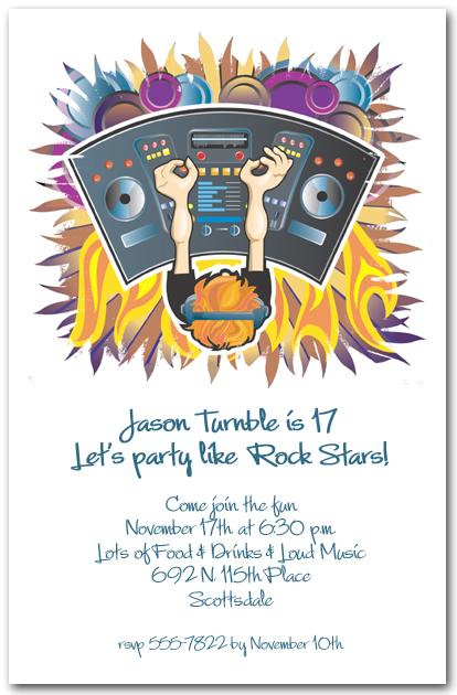 Dj Console Music Invitations