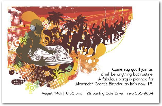 DJ Summer Party Invitations Teenage Birthday Invitations