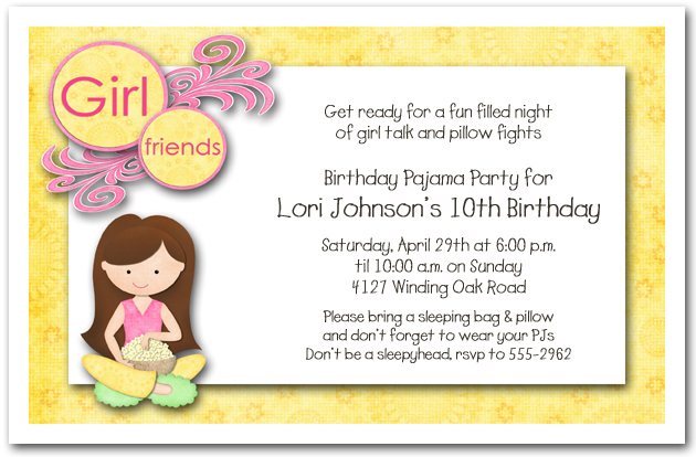 Dark hair girl pajama party sleepover invitations girls birthday dark hair girl pajama party stopboris Images
