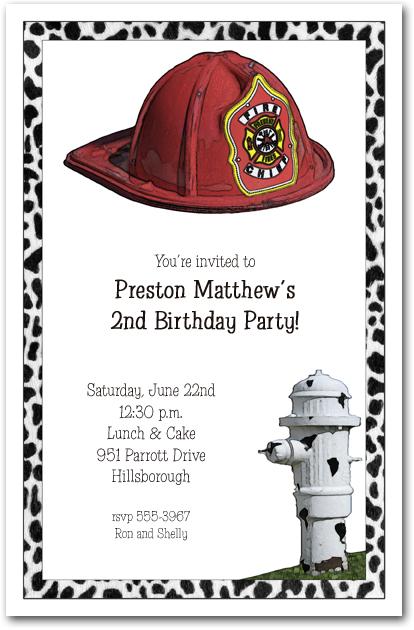 Fireman Hat Amp Hydrant Party Invitations