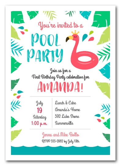 Pink Flamingo Pool Float Party Invitations