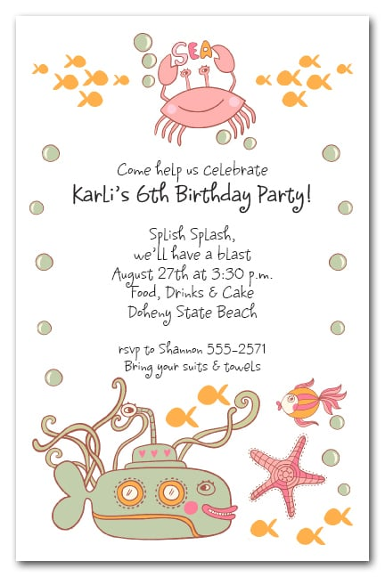 Sea Creatures Pink Party Invitations
