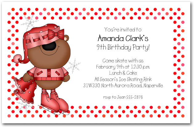 Girl Bear Ice Skating Invitations Skating Birthday Invitations
