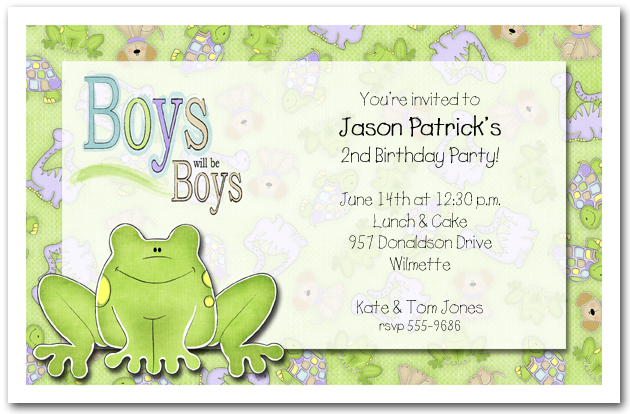 Green Frog Party Invitations Birthday