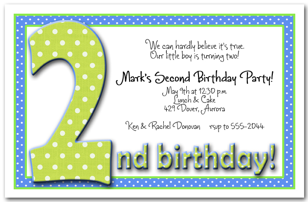 Green Blue Dots 2nd Birthday Invitations
