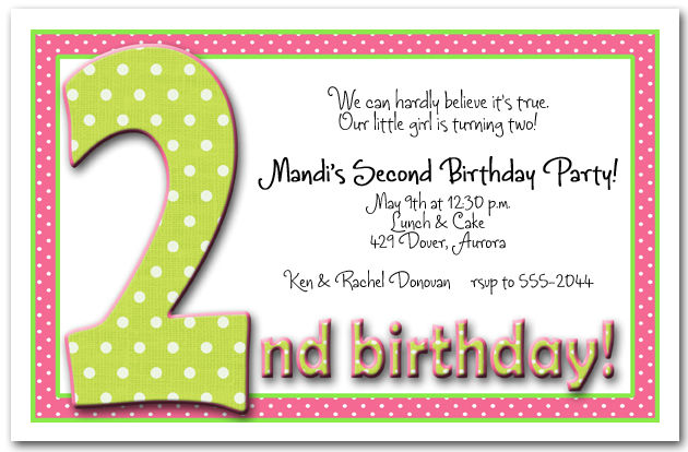 green pink polka dots girl s 2nd birthday party invitation