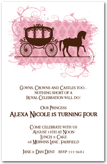 Horse Carriage for a Princess Birthday Invitations