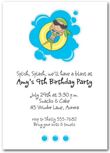 Girl In Innertube Swim Party Invitations Kids Pool Party