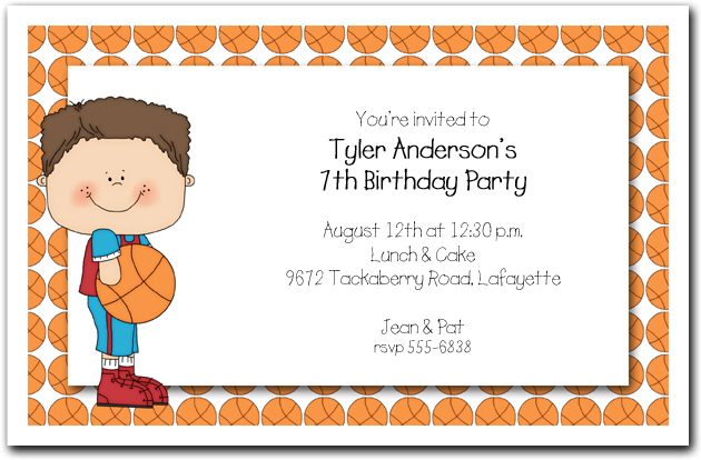 Boys Basketball Time Party Invitations
