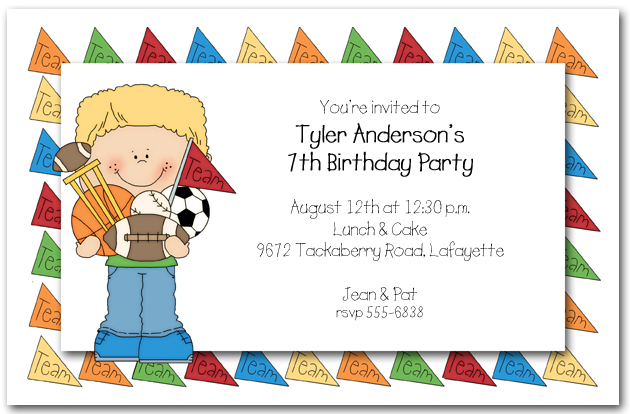 Boys Team Sports Party Invitations Team Sports Invitations