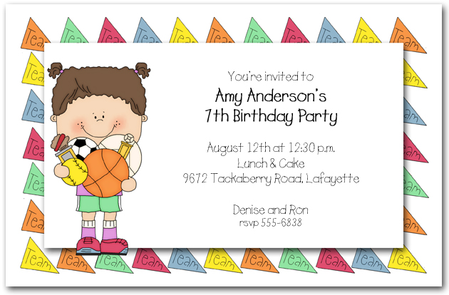 Children S Sports Party Invitations Kids Sports Birthday Invitations