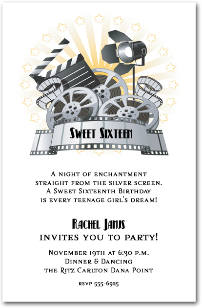 Movie film and clapboard invitations for Film premiere invitation template