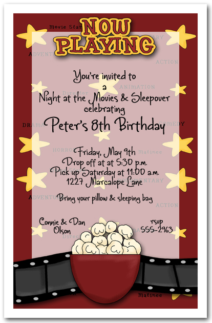 Now Playing Movie Party Invitation Birthday Invitation