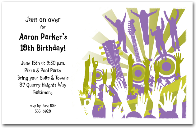 Concert Crowd Guitars Amp Speakers Party Invitations