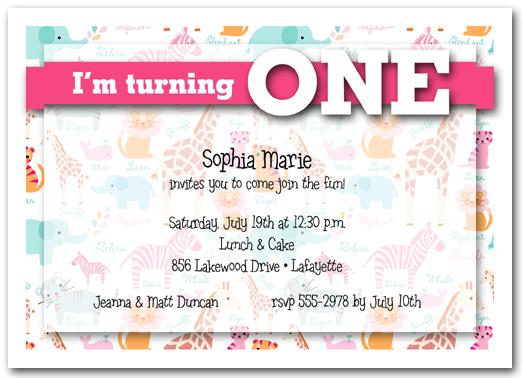 My Zoo Pink Birthday Party Invitations - First birthday invitations girl india