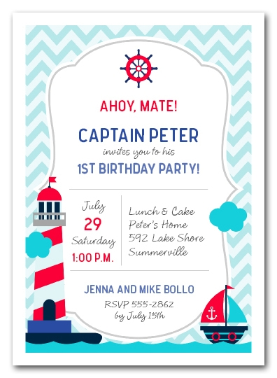 nautical kid first birthday party invitations
