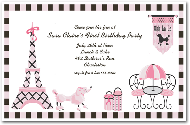 Pink poodle in paris invitation girls birthday invitations pink poodle in paris filmwisefo