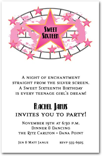 Pink Stars And Filmstrip Invitations Birthday Invitations