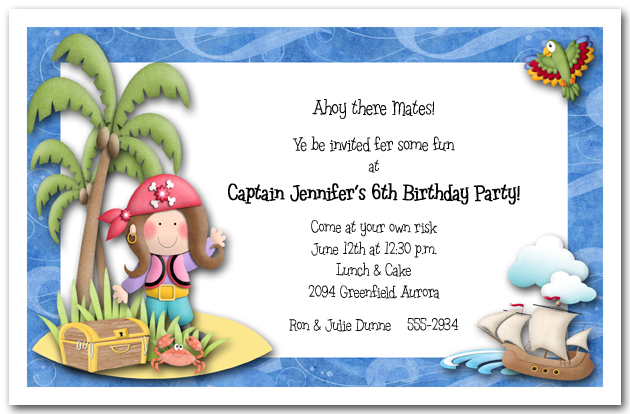 Girl Pirate Island Party Invitations Pirate Birthday Party Invitations