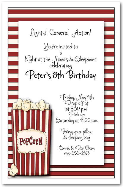 Box of Popcorn Party Invitation Movie Invitation Birthday Invitation