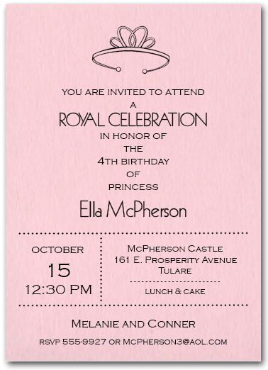 Princess Tiara On Pink Birthday Party Invitations