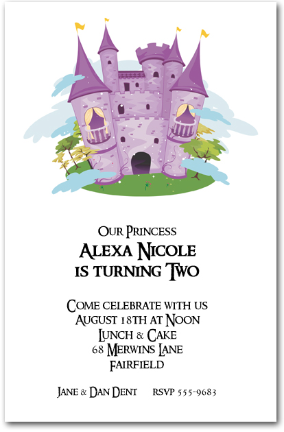 Purple Princess Castle Birthday Invitations