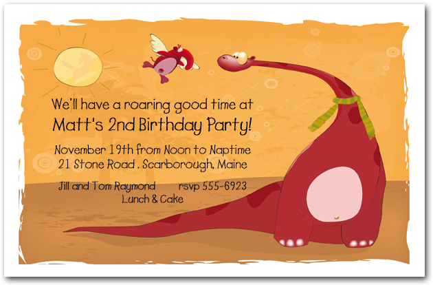 Red Dinosaur Birthday Invitations