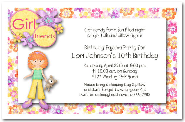 red hair girl pajama party sleepover invitations birthday invitations