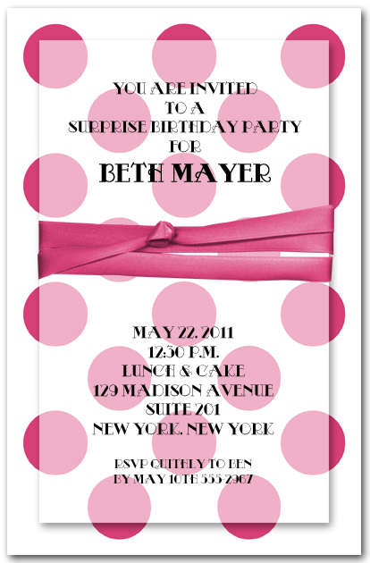Faux Ribbon On Hot Pink Dots Invitations Birthday Shower Invitations