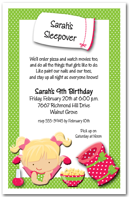 Sleepover party invitations girls pajama party invitations solutioingenieria Images
