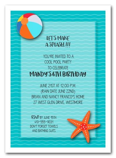splish splash waves swim party invitations