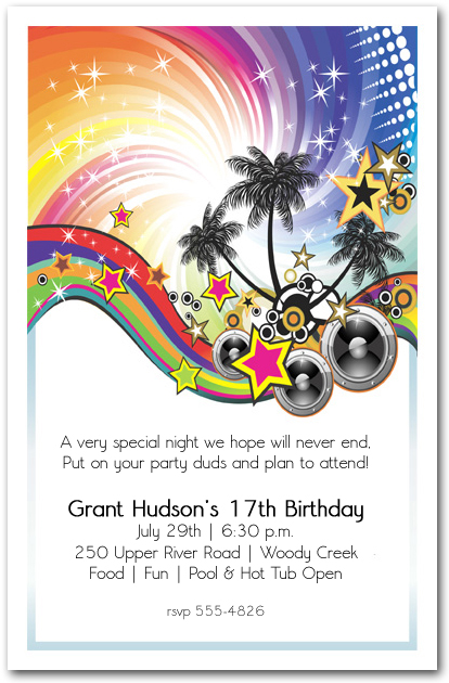Summer Music Party Invitation Teenage Birthday Party