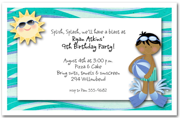 Swim fins ethnic boy kids party invitations pool party invitation swim fins ethnic boy filmwisefo