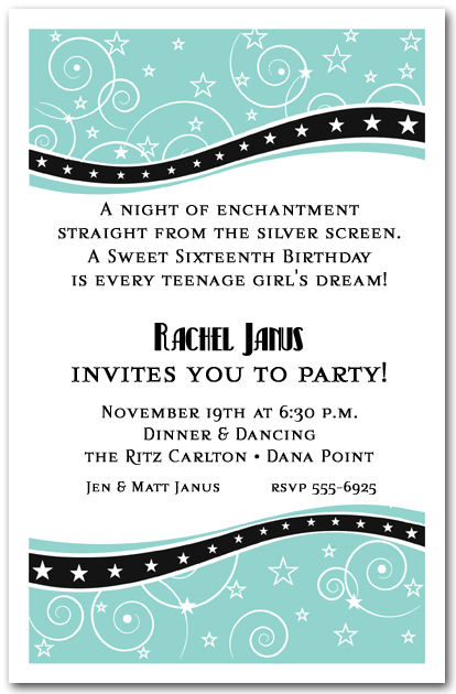 swirls and stars tiffany blue party invitations