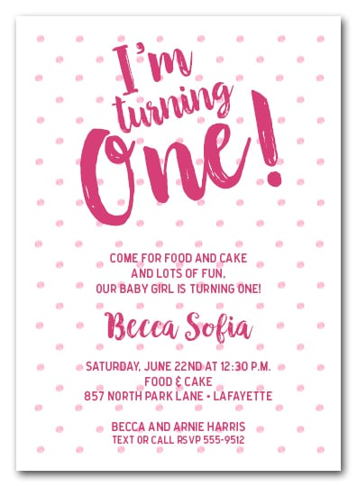 dotted first birthday girl party invitations