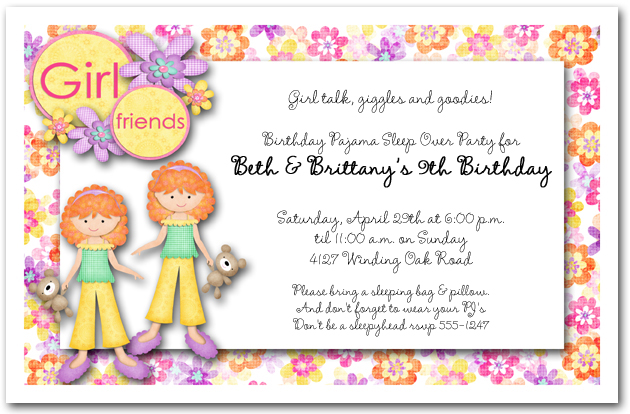 Red Hair Twins Pajama Party Invitations Sleep Over Party Invitations