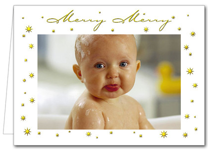 Merry Merry Gold Holiday Christmas Photo Cards*