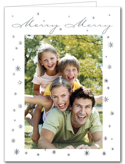 Merry Merry Silver Vertical Holiday Christmas Photo Holder Cards