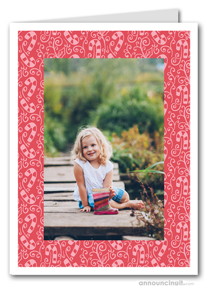 Candy Canes on Red Photo Holder Holiday Christmas Cards (V)