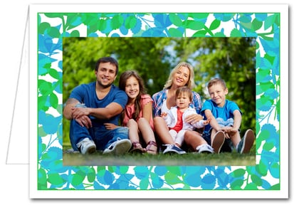 Foliage Green & Blue Photo Holder Holiday Christmas Cards*
