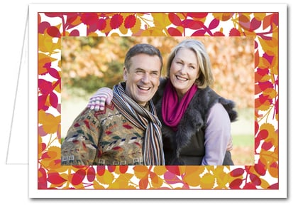 Foliage Red & Gold Photo Holder Holiday Christmas Cards*