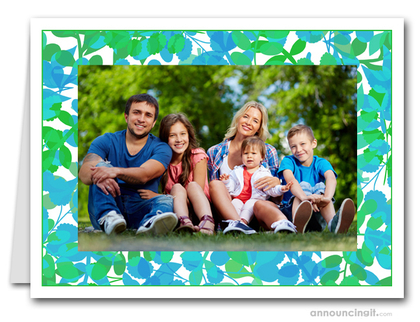 Foliage Green & Blue Photo Holder Holiday Cards (H)