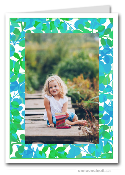 Foliage Green & Blue Photo Holder Holiday Cards (V)