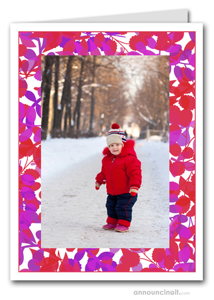 Foliage Red & Purple Photo Holder Holiday Cards (V)