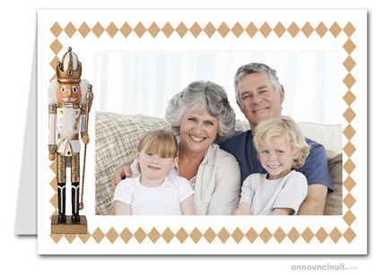 Gold Nutcracker Photo Holder Holiday Christmas Cards (H)