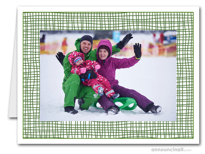 Green Crosshatch Photo Holder Holiday Cards (H)