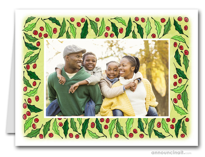 Berries & Leaves Photo Holder Holiday Christmas Cards (H)